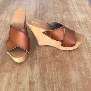 Brown Studded Mossimo Slide On Wedges
